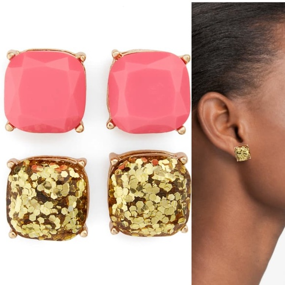 BP. Set of 2 Pink/Gold Square Stud Earrings NWT